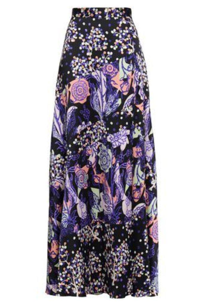 Peter Pilotto Woman Silk-jacquard Maxi Skirt Midnight Blue Size 16