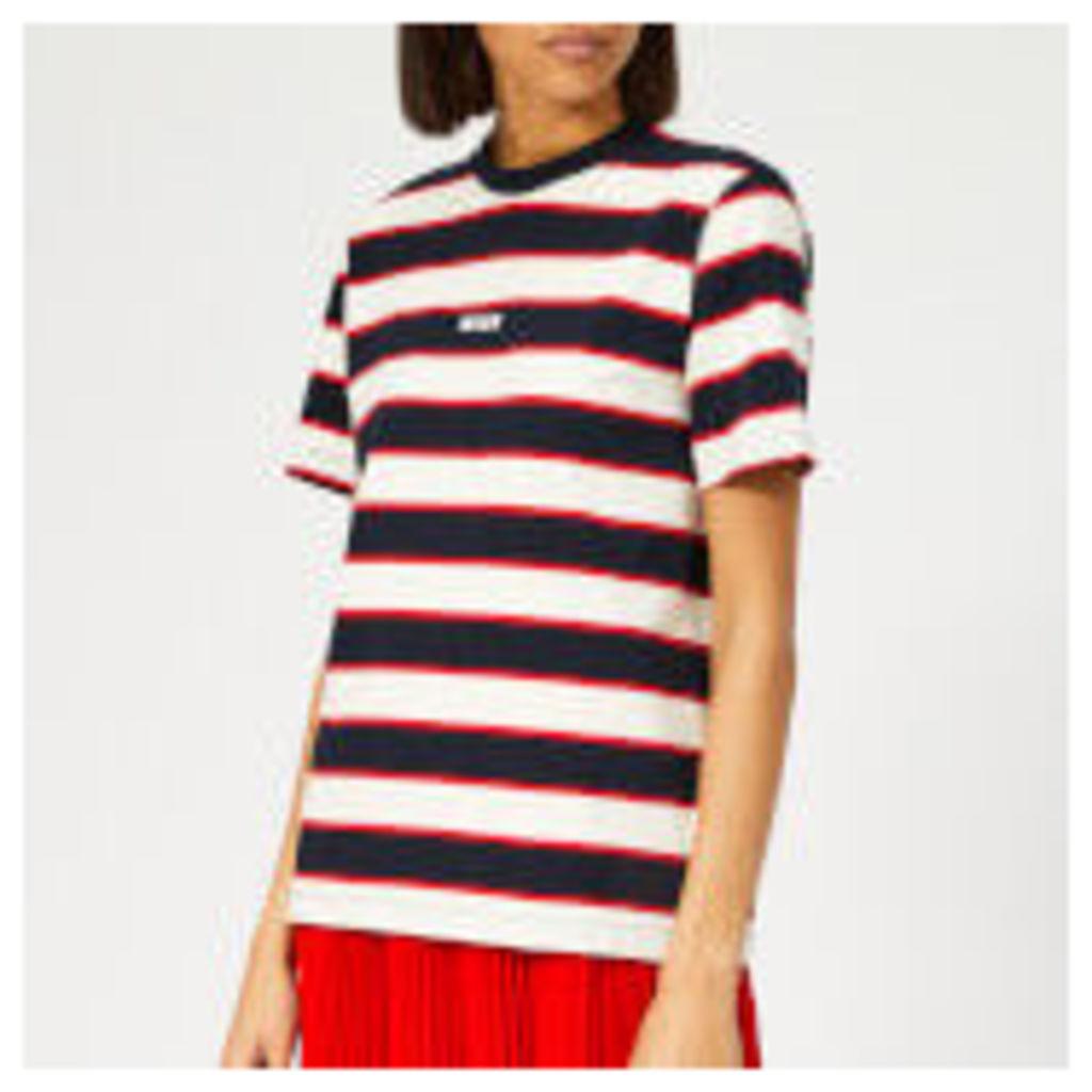 MSGM Women's Striped Logo T-Shirt - White