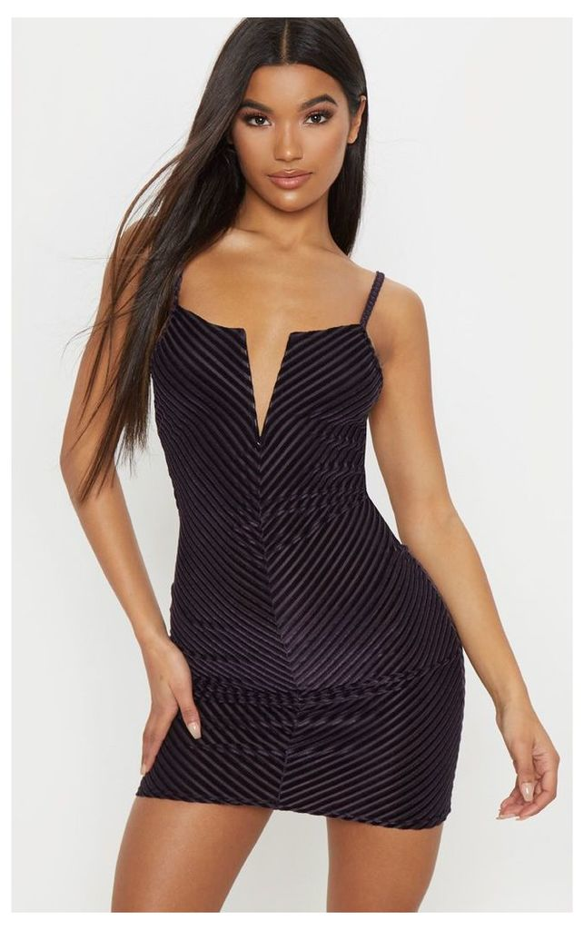 Plum Velvet Rib Plunge Bodycon Dress, Purple
