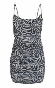 Zebra Print Mesh Ruched Side Bodycon Dress, Black
