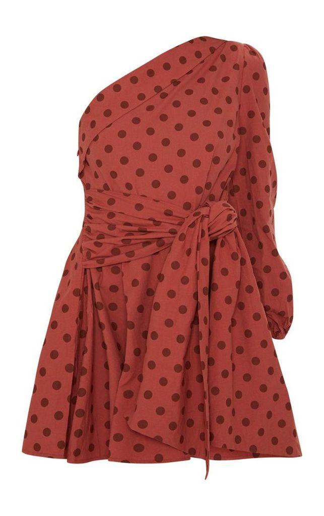 Rust Polka Dot One Sleeve Shirt Dress, Orange