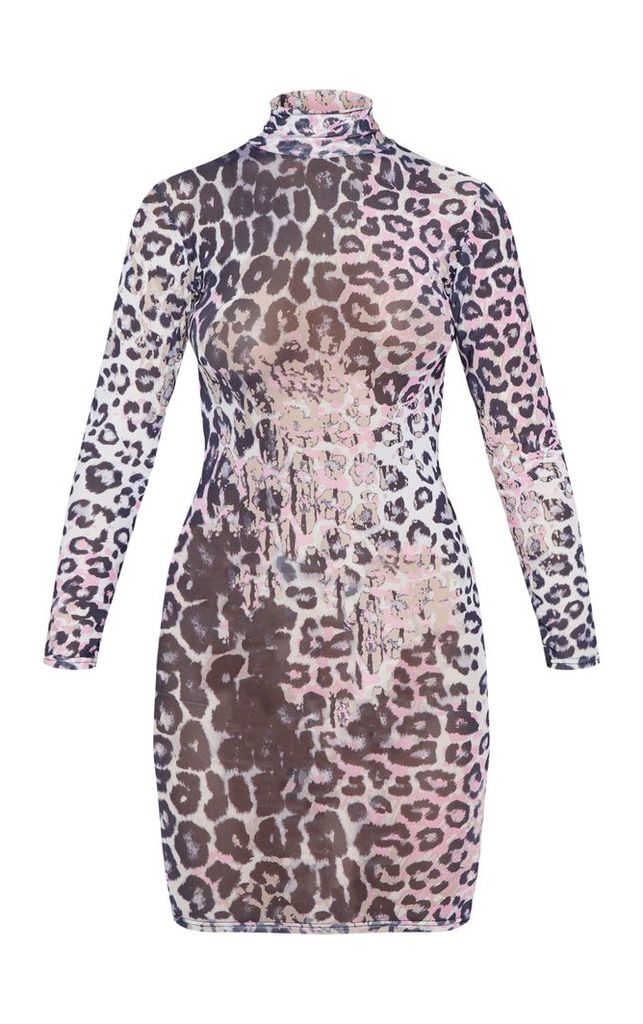 Multi Leopard Print Mesh High Neck Bodycon Dress, White