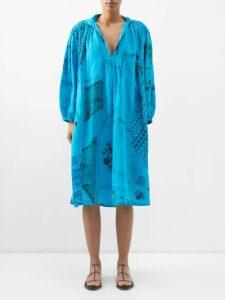 Ann Demeulemeester - Striped Linen Blend Coat - Womens - Black Multi