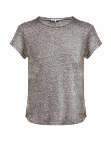 Frame - Slubbed Linen Jersey Crew Neck T Shirt - Womens - Grey