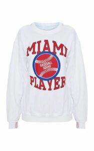 White Miami Baseball Slogan Oversized Sweater, White