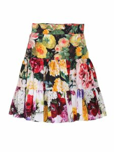 Cotton poplin flared skirt