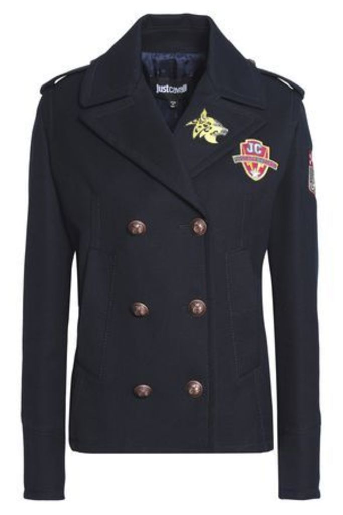 Just Cavalli Woman Double-breasted Appliquéd Cotton-blend Jacket Midnight Blue Size 40