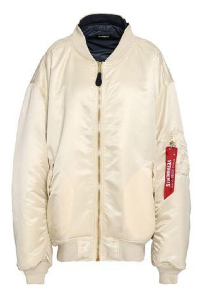 Vetements Woman Oversized Sateen Bomber Jacket Ivory Size XS