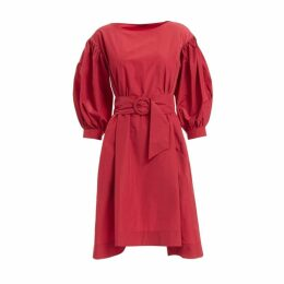 WtR Veronica Red Belted Balloon Sleeve Dress