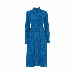 Kitri Lotta Blue Check Shirt Dress