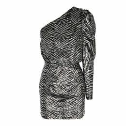 Alexandre Vauthier Zebra-sequin One-shoulder Mini Dress