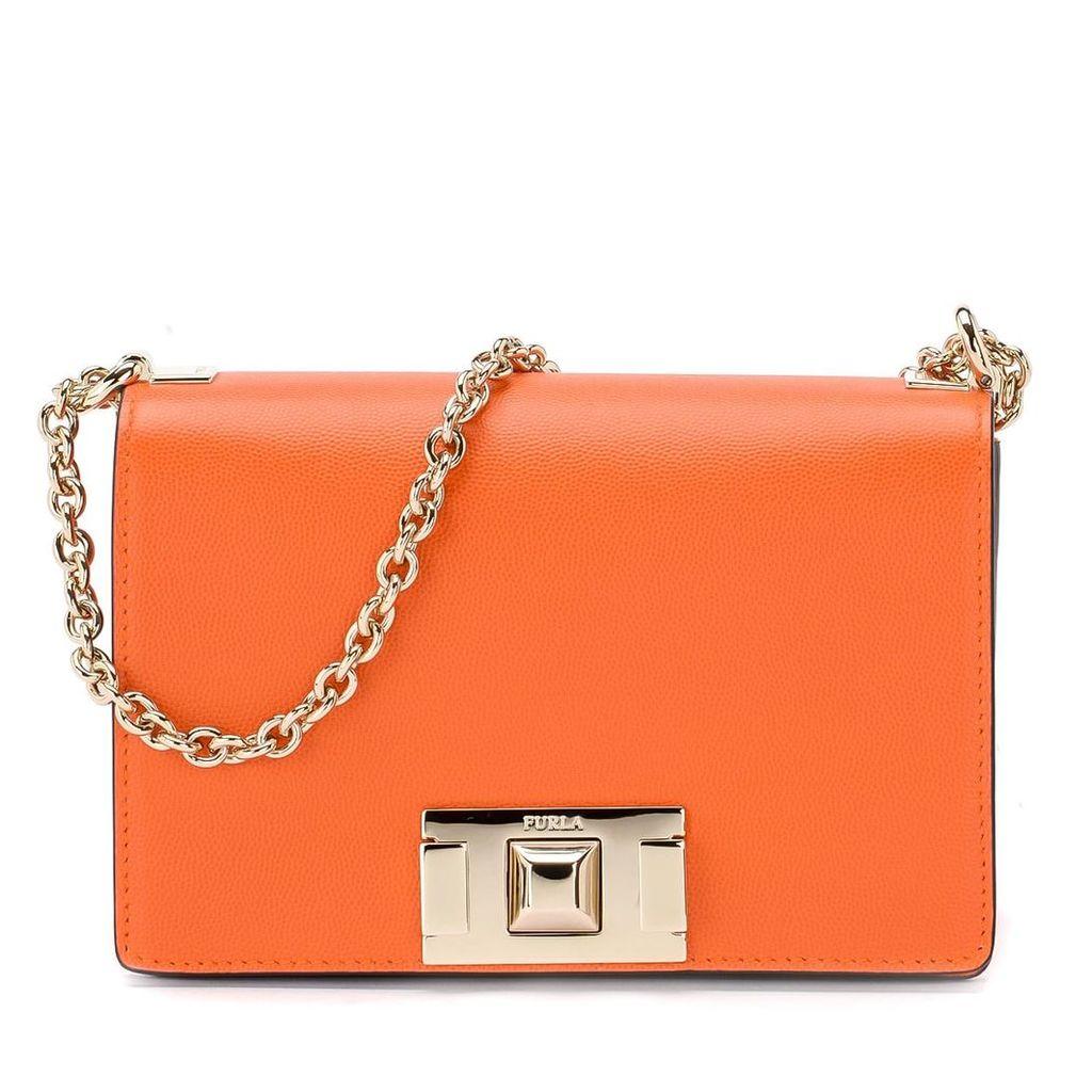 Furla Mimì Mini Orange Leather Shoulder Bag