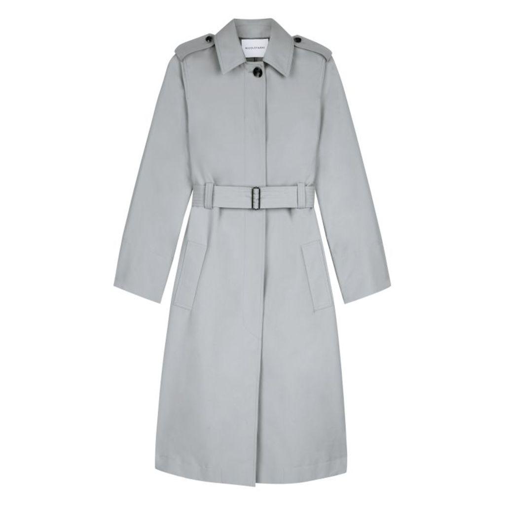 NICOLE FARHI Stone Abby Trench Coat