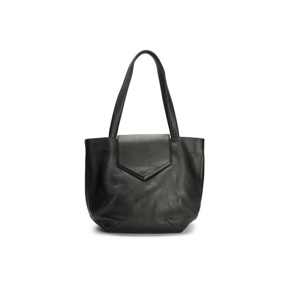 WtR Sculpture Black Leather Tote Bag