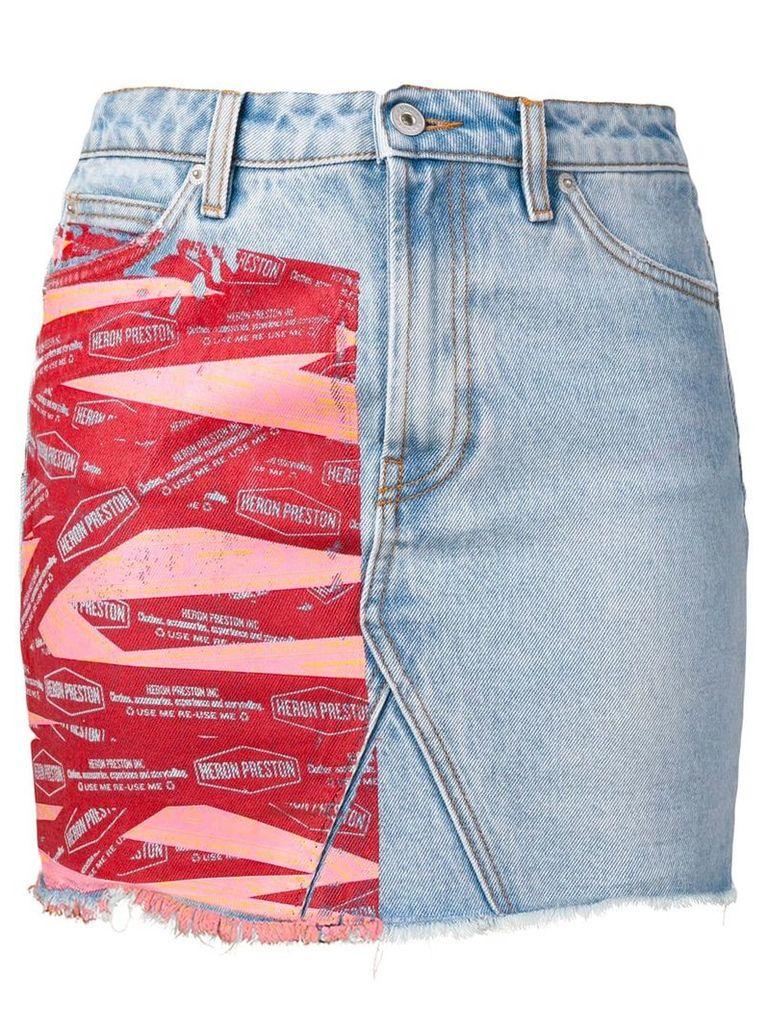 Heron Preston printed detail denim skirt - Blue