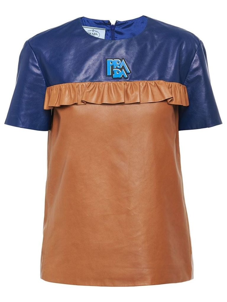 Prada ruffle detail T-shirt - Brown