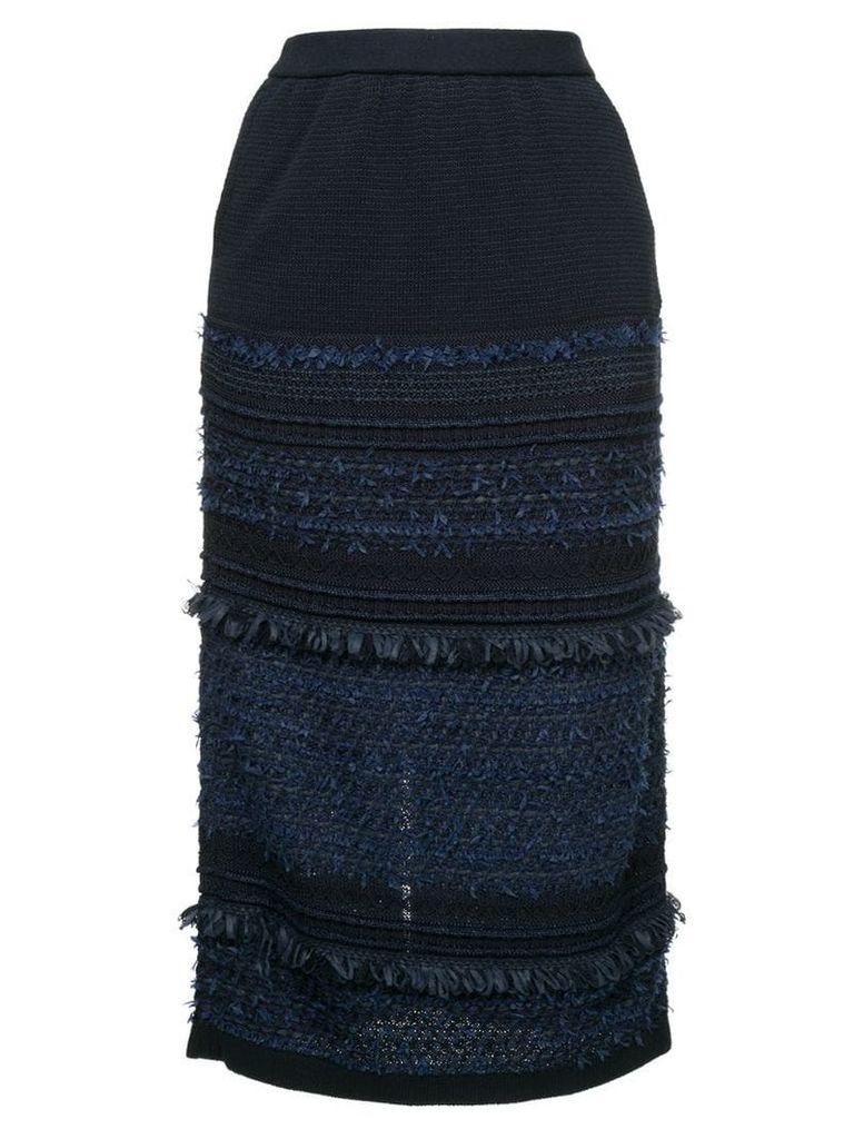 COOHEM tweed midi skirt - Blue