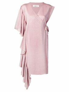 Circus Hotel lurex asymmetric wrap dress - Pink