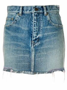 Saint Laurent raw hem denim skirt - Blue