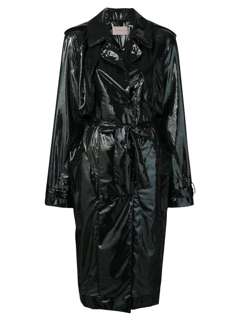 Christopher Kane iridescent oil trench coat - Black