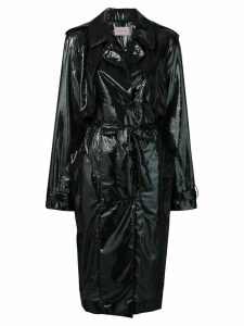 Christopher Kane iridescent oil trench coat - Black