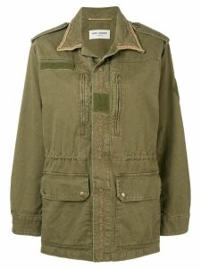 Saint Laurent embroidered trim parka - Green
