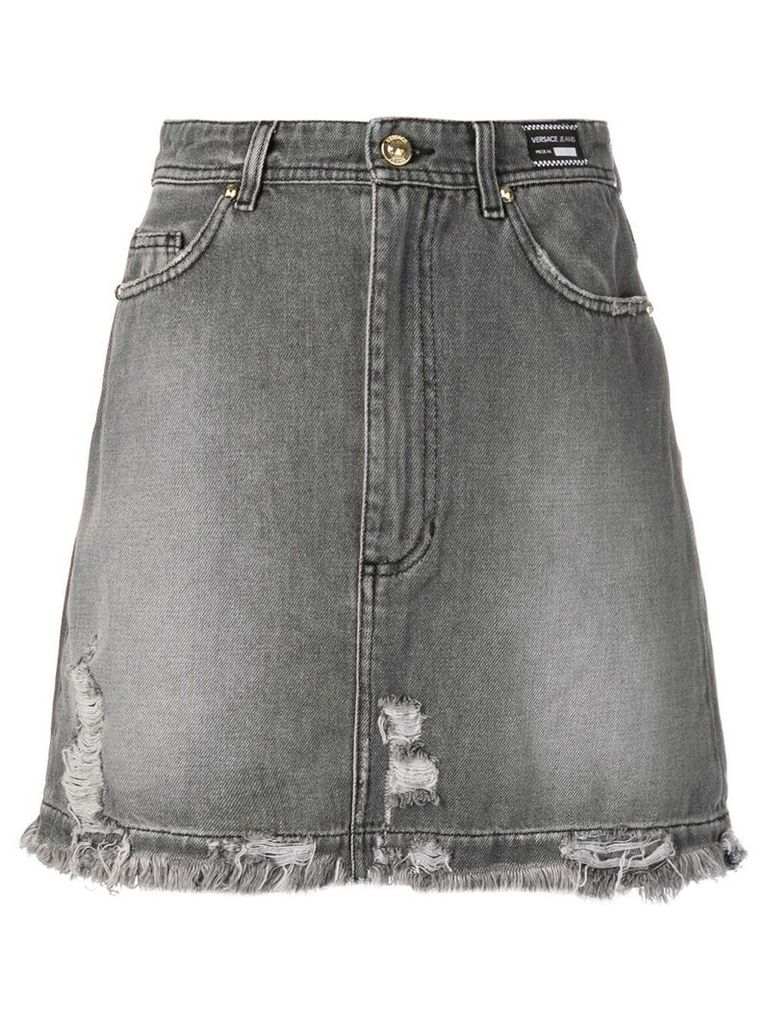 Versace Jeans distressed denim skirt - Grey