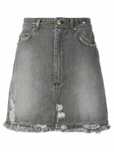 Versace Jeans Couture distressed denim skirt - Grey