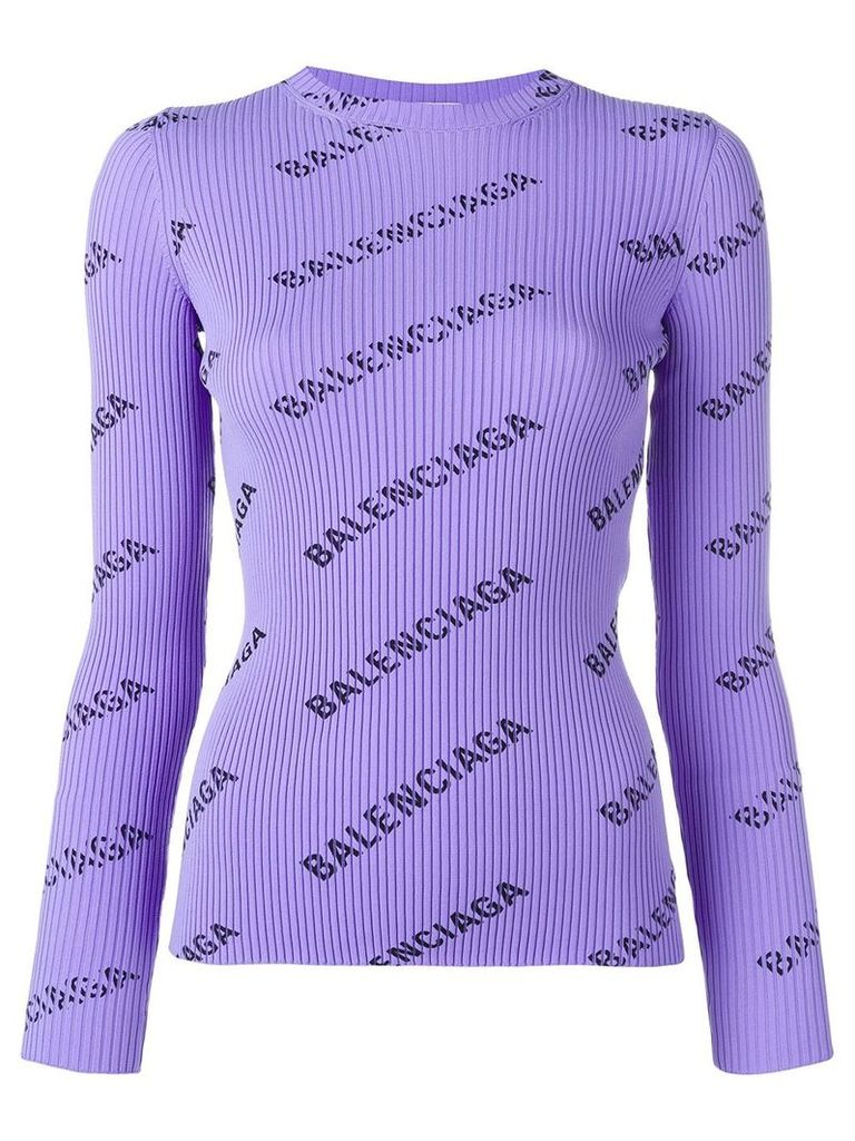 Balenciaga logo ribbed jumper - Purple