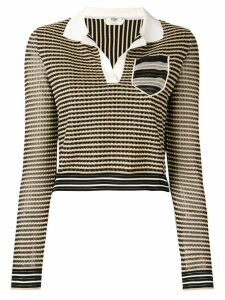 Fendi knitted polo top - Black
