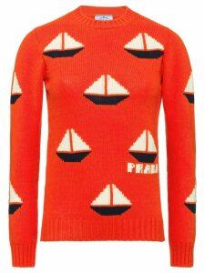 Prada boat intarsia motif jumper - Orange