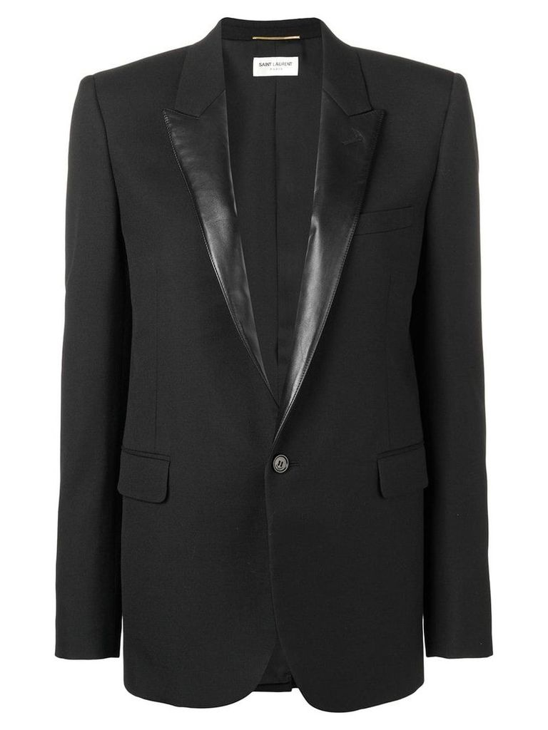 Saint Laurent contrast lapel blazer - Black