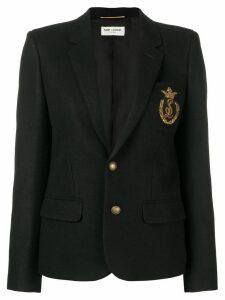 Saint Laurent logo badge felt blazer - Black