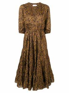 Zimmermann floral flared dress - Gold