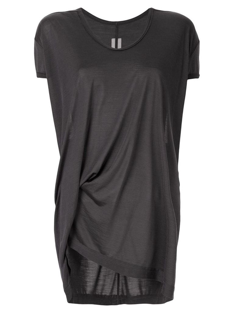 Rick Owens asymmetric ruched T-shirt - Grey