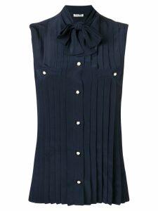 Miu Miu pussy bow pleated shirt - Blue