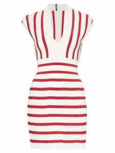 Balmain Striped Pleated Mini-Dress - White