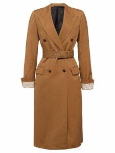 Prada poplin double breasted coat - Brown