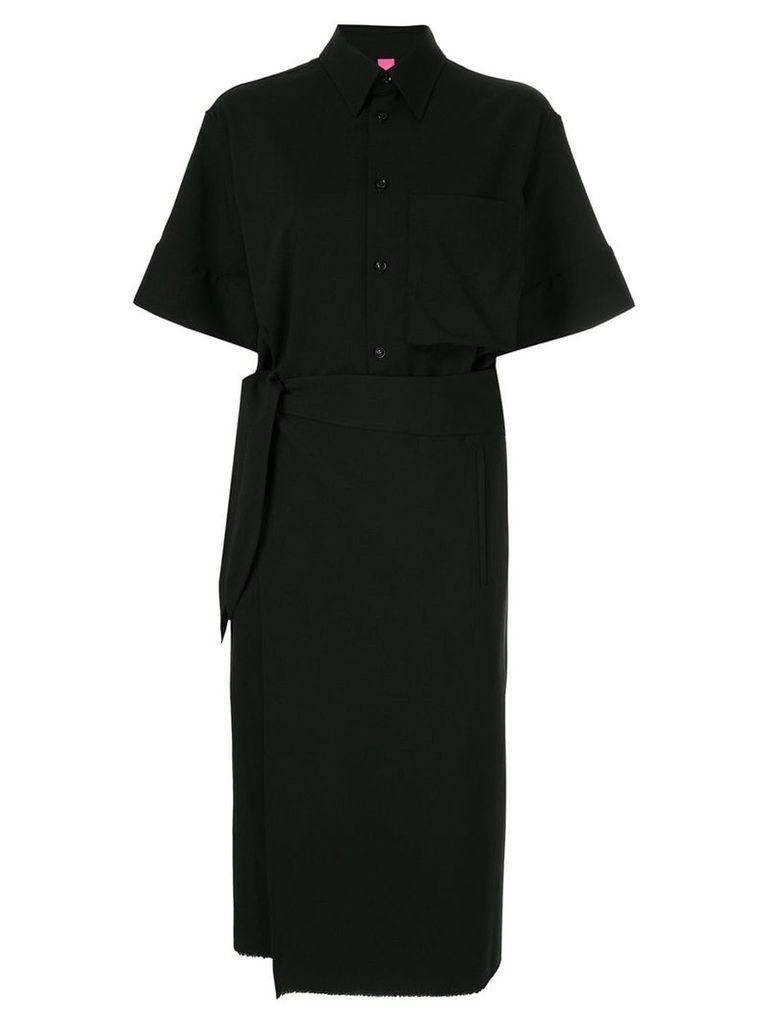 Y's wrap front shirt dress - Black