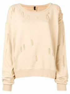 Unravel Project distressed oversized sweatshirt - Neutrals