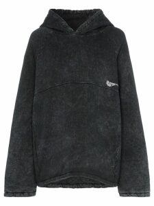 Martine Rose acid wash hooded cotton jumper - Black