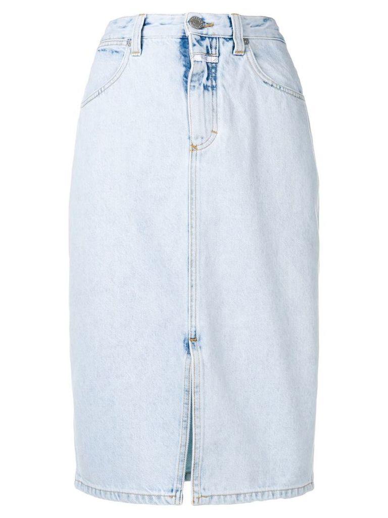 Closed mid-length denim skirt - Blue