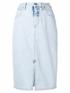Closed mid-length denim skirt - Blue