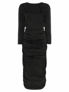 Attico zebra print V-back three-quarter sleeve midi dress - Black