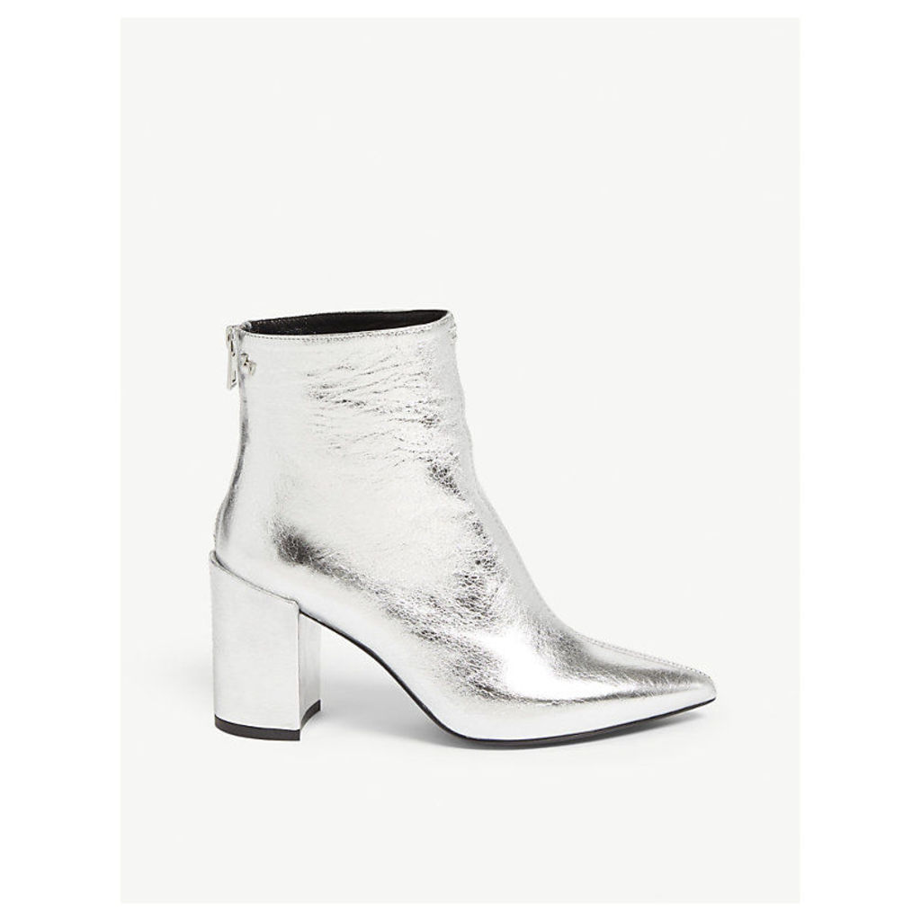 Glimmer metallic leather ankle boots