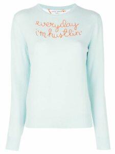 Lingua Franca embroidered cashmere pullover - Blue