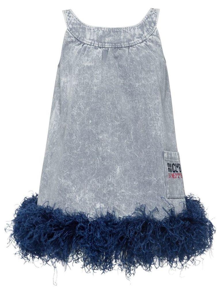 Miu Miu feather embellished denim dress - Grey