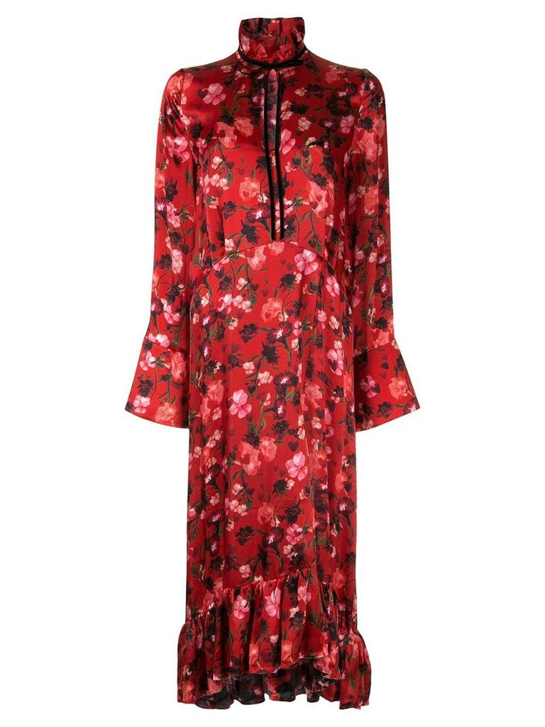 Mother Of Pearl poppy print midi dress - Red