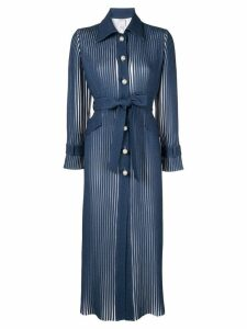 Huishan Zhang pearl button streamlined coat - Blue