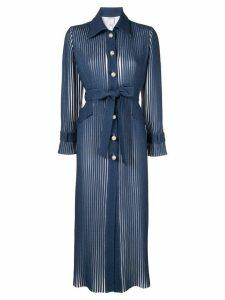 Huishan Zhang pearl button streamlined coat - Blue
